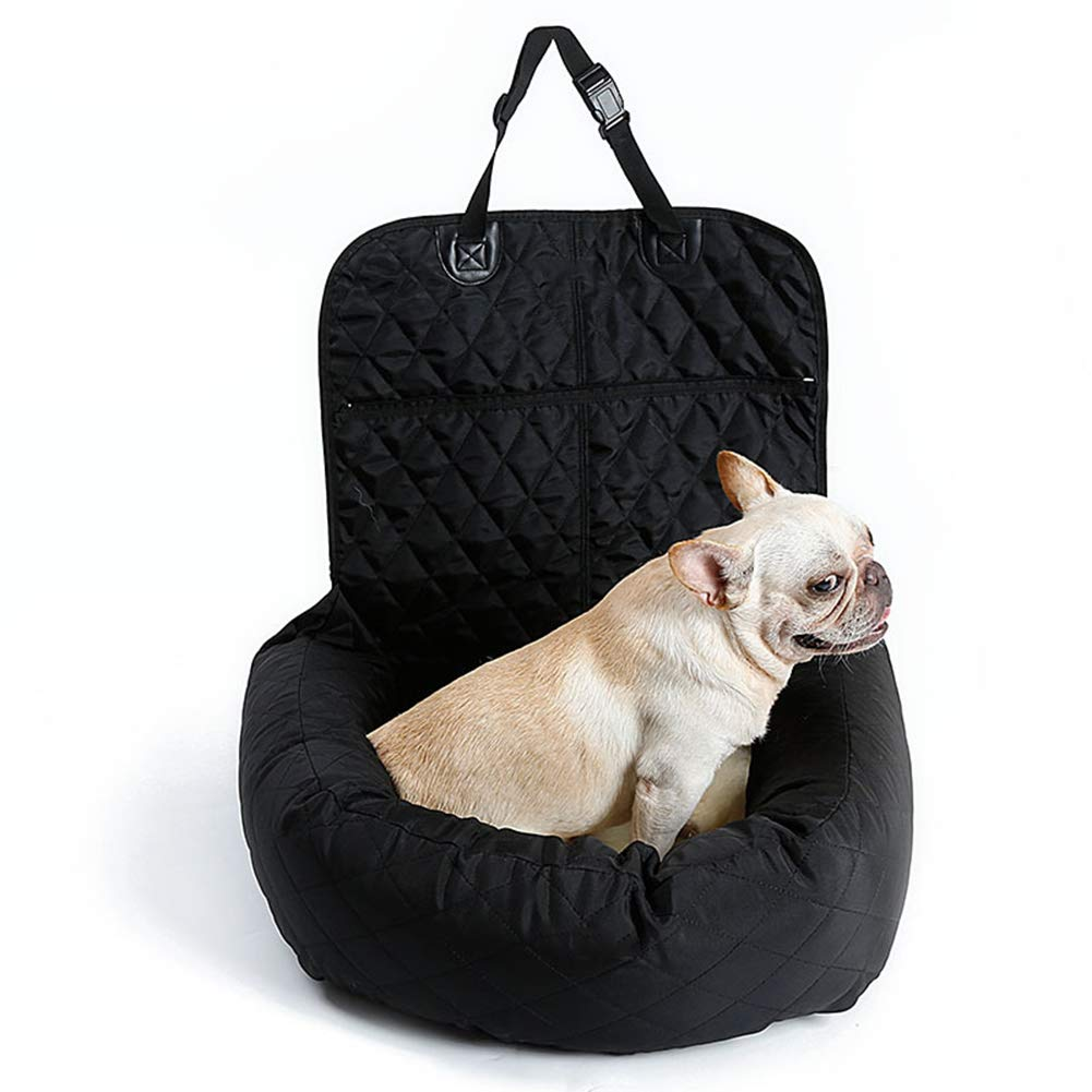 Black Console Pet Car Seat,Portable Foldable Carrier,Devoted Doggy Deluxe Dog Booster Car Seat Premium Clipon Safety Leash Perfect for Small and Medium Pets