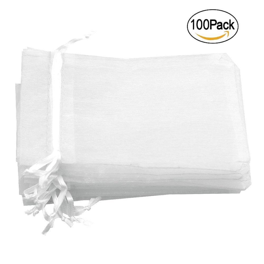 100 bolsas de regalo de organza transparentes, pequeñas ...