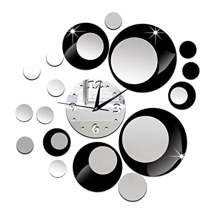 DIY Specchi Orologi da Parete Nero Personalizzato Cerchio di Colore ...