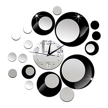 DIY Specchi Orologi da Parete Nero Personalizzato Cerchio di ...
