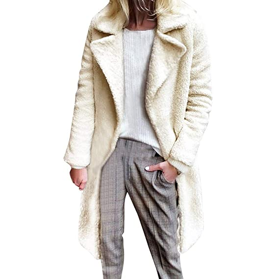 Luckycat Abrigo de Invierno de Mujer, Chaquetas de Abrigo de Piel sintética con Solapa Suelta Cárdigan de Manga Larga de Color sólido Outwear Tops: ...