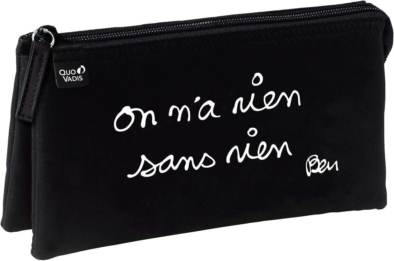 Quo Vadis Ben Fourre-Tout Trousse 3 compartiments on na rien sans rien 22,5 x 11 x 6 cm Noir