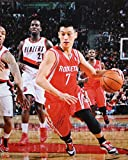 Jeremy Lin Autographed 16x20 Rockets Dribbling