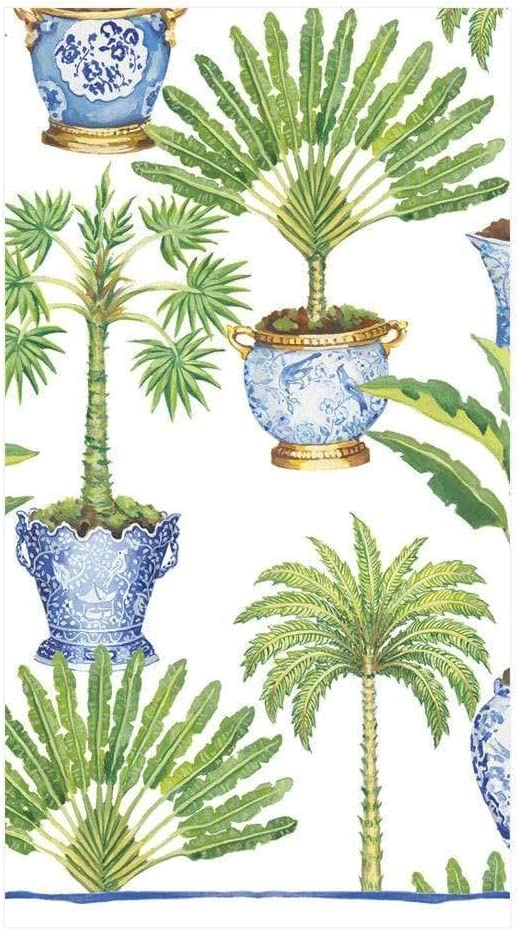 Caspari Potted Palms Paper Guest Towel Napkins in White, Two Packs of 15