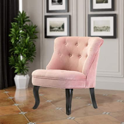 Blush Pink Accent Chairs.Pink Upholstered Chair Jane Tufted Velvet Armless Accent Chair With Black Birch Wood Legs Blush Pink