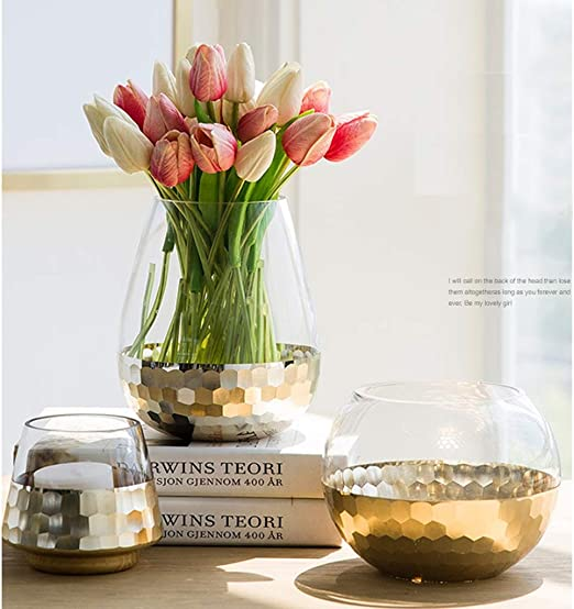 Honeycomb Vase Small Gold Foil Plated Honeycomb Glass Vase Candleholders Clear Glass Flower Vases Dining Table Centerpieces Bowl Tea Light Holders Gifts For Wedding Housewarming Christmas Party Amazon Co Uk Kitchen Home