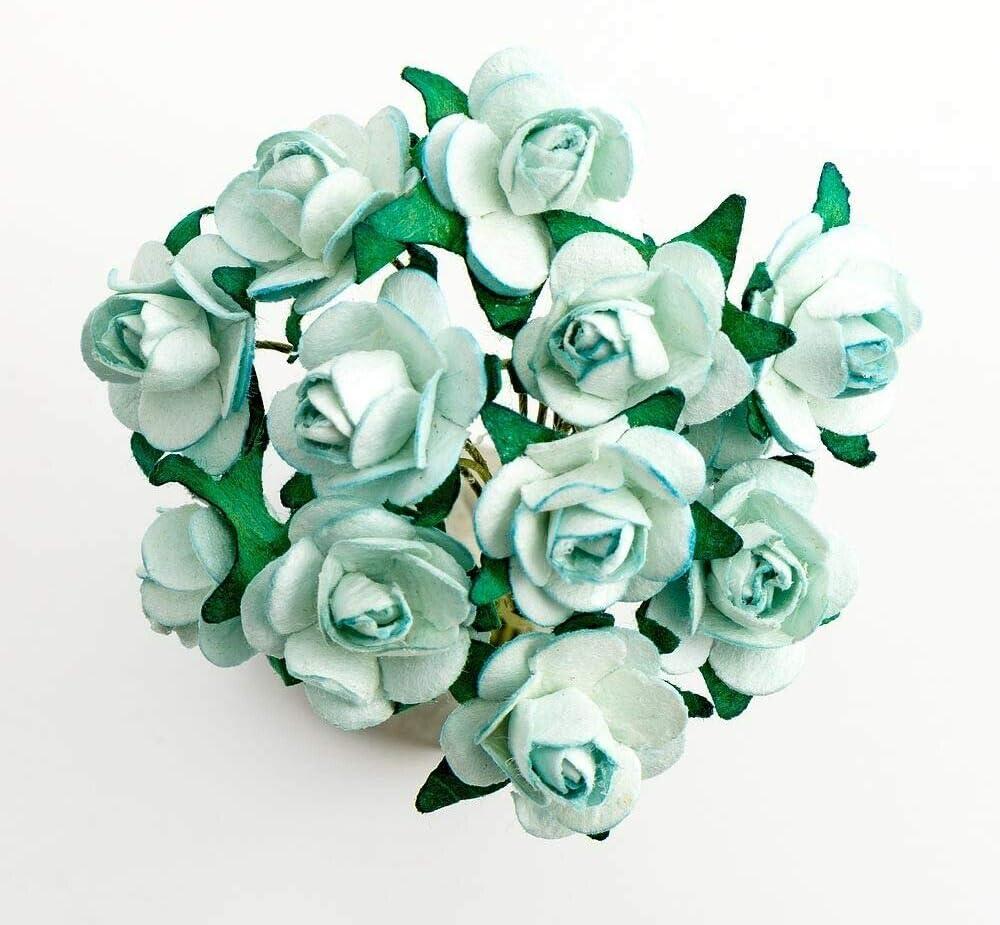 EliteKoopers - Ramo de Rosas de Papel de Morera para Manualidades, álbumes de Recortes, Bodas, Azul pálido, 3 Bunch - 36 Flower