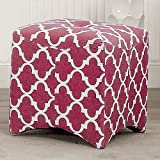 Furniture of America Monterey I Quatrefoil Pattern Tufted Ottoman Red