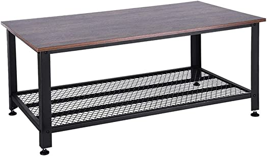 FILOL Metal Frame Coffee Table, Rectangular Center Table with Storage Shelf, Industrial Modern Table, Wood Look Accent Furniture with Metal Frame for Living Room – Ship from USA Retro
