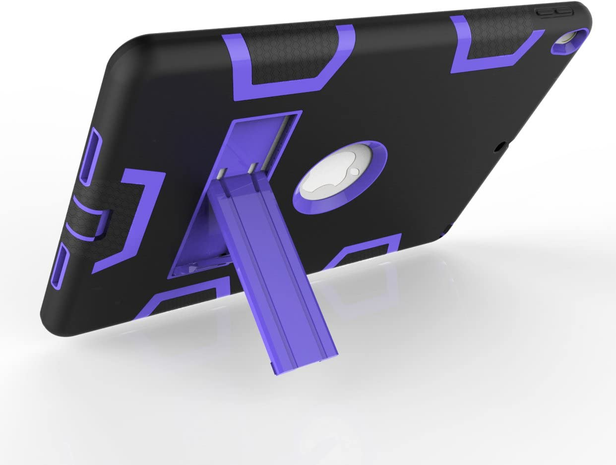 Ocamo for New iPad 10.5 2017//2018 PC Silicone Hit Color Armor Case Tri-Proof Shockproof Protective Cover Black Purple New iPad 10.5 2017//2018