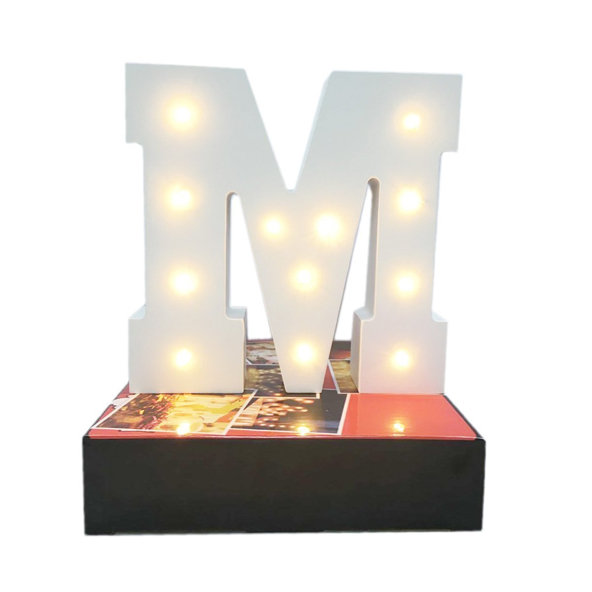Decorative Light Up Wooden Alphabet Letter,WONFAST DIY LED Letter Lights Sign Party Wedding Holiday Marquee Decor Battery Operated,Warm White,Alphabet (M)