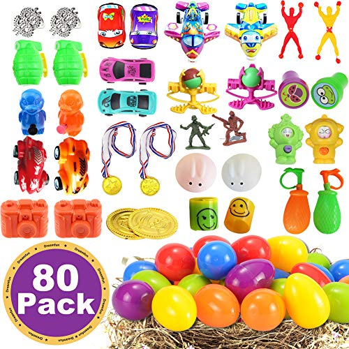 80 Pcs Filled Easter Eggs Toys Kids Party Favors 2.5