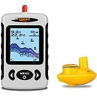 Lucky détecteur de Profondeur sans Fil portatif, capteur de Sonar de pêche transducteur avec Une Plus Longue portée aérienne, Fishfinder Alarme avec écran LCD