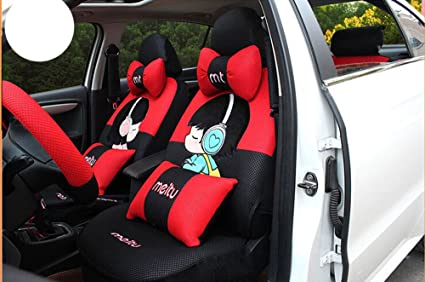 20ps New Luxury 1 Set Cute Female Cartoon Car Seat Cover Accessories Universal Interior