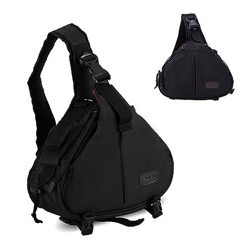 DSLR Camera Case Crossbody Shoulder Bag Sling Bag Camera Accessories Bag Lens Bag for Canon Nikon Sony Olympus Samsung Panasonic Pentax Black
