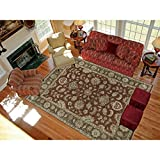 Magi Hand-knotted Faith Red/ Brown New Zealand Wool Rug (8' x 10')