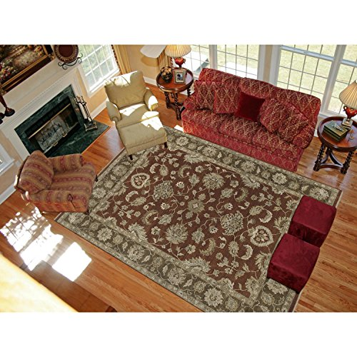 Magi Hand-knotted Faith Red/ Brown New Zealand Wool Rug (10' x 14') by Magi