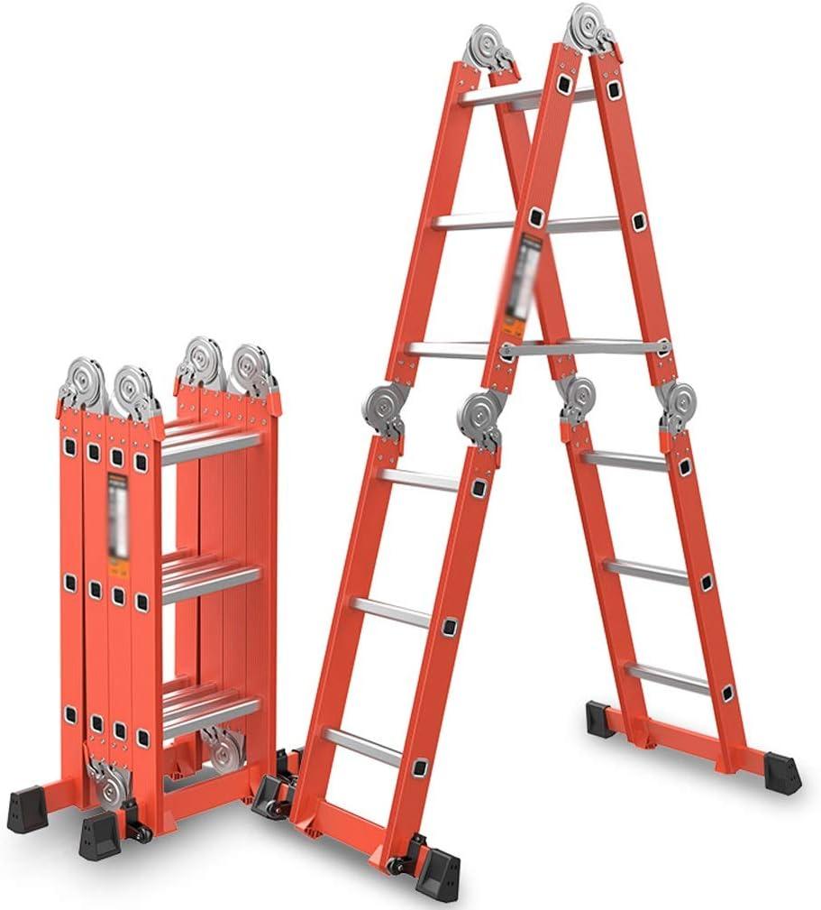 ZHAO YING Escalera Multifuncional Liviana de Aluminio, Escalera de andamio Plegable Multiusos, Escalera de Tijera de Trabajo de extensión Multiusos (Color : Orange): Amazon.es: Hogar
