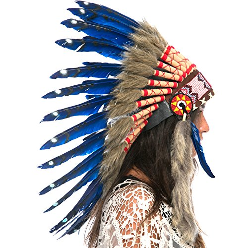 Feather Headdress- Native American Indian Style- Handmade by Artisan Halloween Costume for Men Women with Real Feathers - Dark Blue Duck -