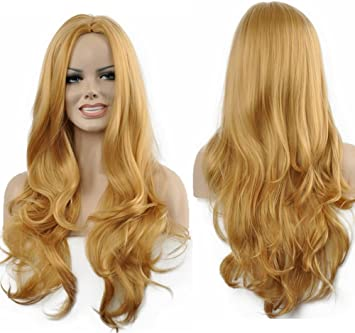 Amazon.com  Diy-Wig Popular Long Gold Body Wave Synthetic Full Wigs ... 46fe081f6