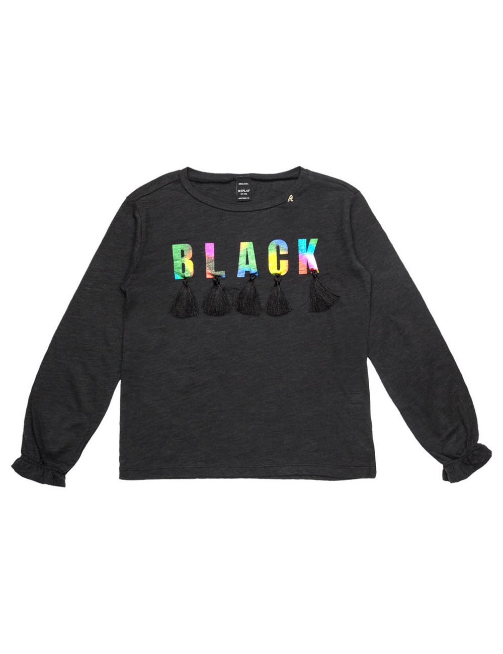 Replay Girls Black Longsleeved T-Shirt With Ruffle Detail in Size 14 Years Black