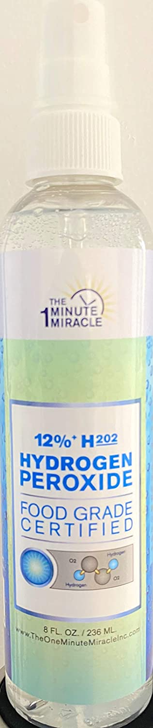 12% Hydrogen Peroxide Food Grade - Diluted from 35% H2o2 with Distilled Water to 12% - Recommended by: The One Minute Cure Book - 8 oz Spray Bottle