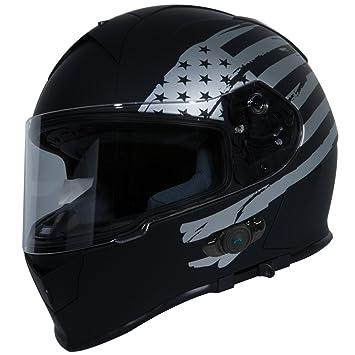 9b116d3e0f2 Torc T14B Bluetooth Integrated Mako Full Face Helmet with Flag Graphic  (Flat Black