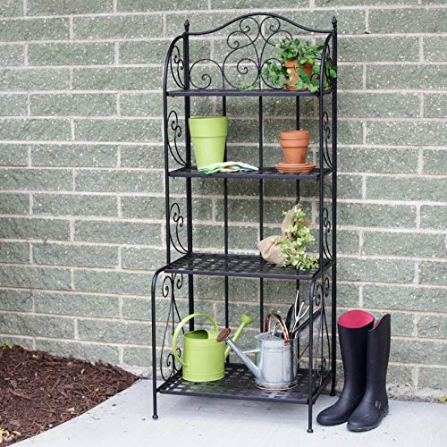 Versatile Victorian 4 Tier Standing Wire Shelf, Planter Stand Storage Outdoor, Balcony Shelving Unit, Metal Bakers Rack, Rustproof Organizer for Corner, Shelves Indoor Plant Rack Garage Pot ()