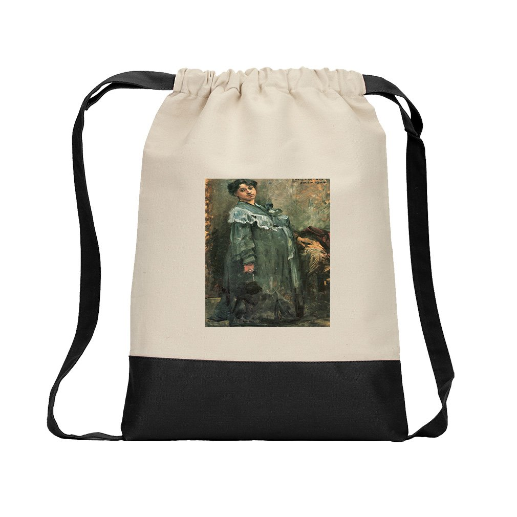The Silk Coat (Lovis Corinth) Canvas Backpack Color Drawstring Bag - Black
