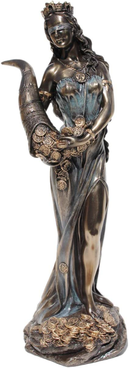 11.38 Inch Blinded Greek Goddess Fortuna Cold Cast Bronze Figurine