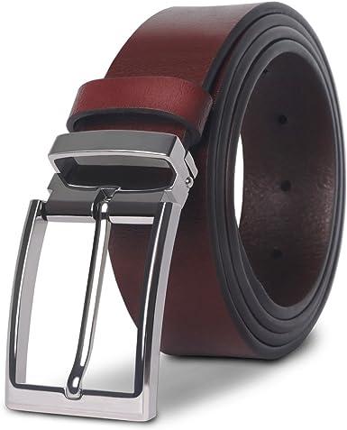 M.R Cinturón Hombre Cuero Cinturones de Piel Negro Marrón Clásico ...