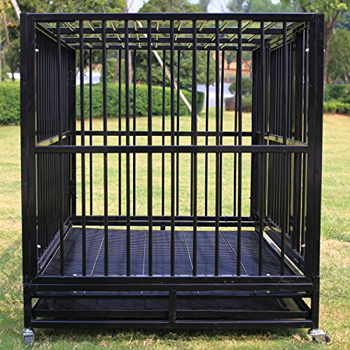 Paney Large 48 Quot Heavy Duty Rolling Dog Cage Crate Kennel