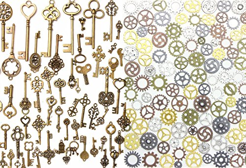 Buytra 137 Pack Antique Bronze Vintage Skeleton Keys Steampunk Gears Cogs Charms Pendant Clock Watch Wheel for Jewelry Making Supplies, Steampunk Accessories, Craft Projects ()