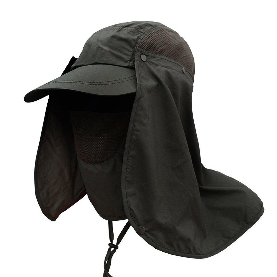 Andux Multifunzionale Anti-UV ad Asciugatura Rapida Cappello di Protezione del Cappello di Sun di Pesca con Rimovibile Sun Shield e Maschera F-DYM-01 (Cachi)