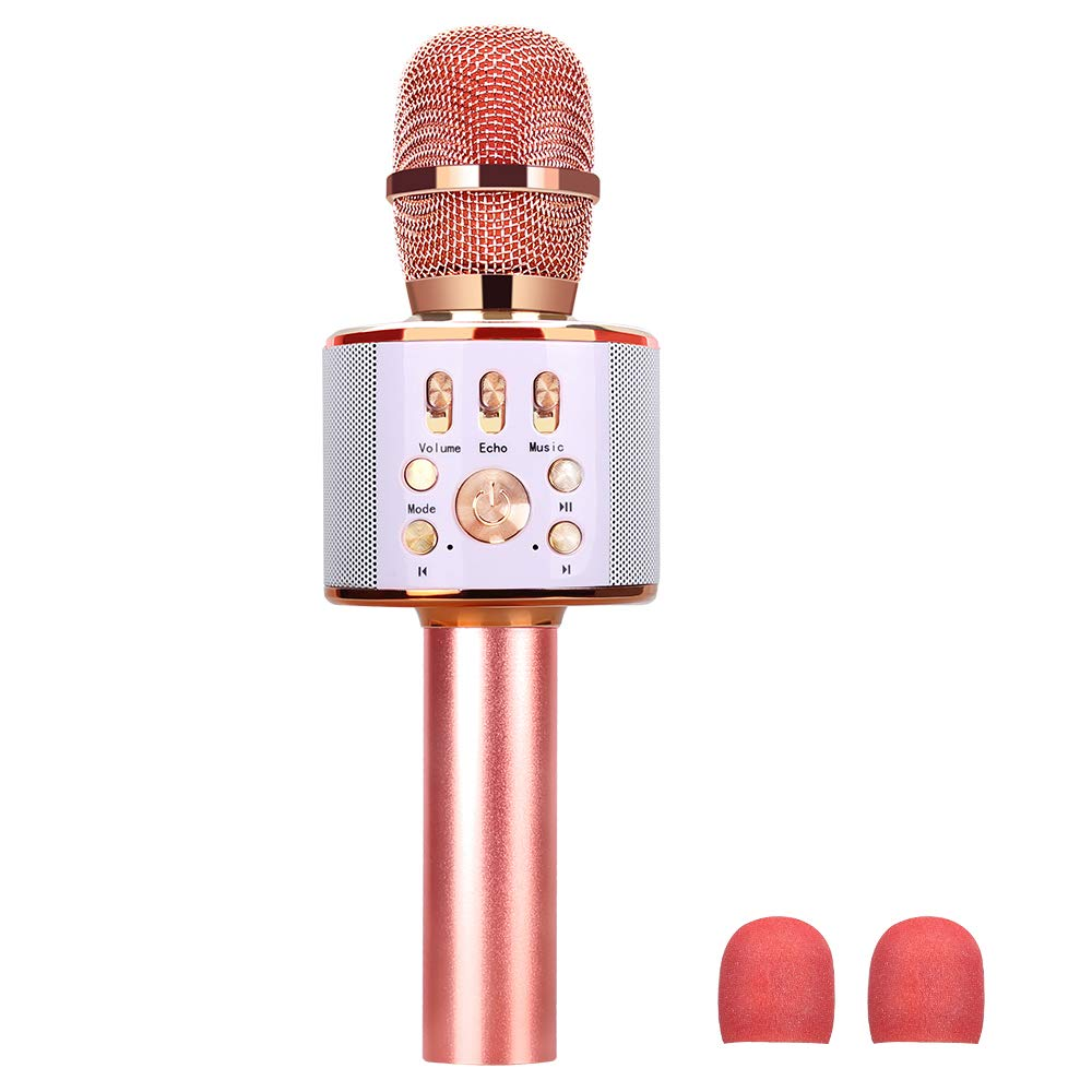 Wireless Bluetooth Karaoke Microphone with Speaker, Portable Karaoke Machine for Adults Kids, Karaoke Mic Home KTV Party Birthday Gifts for iPhone Android iPad Smartphone (Rose Gold)