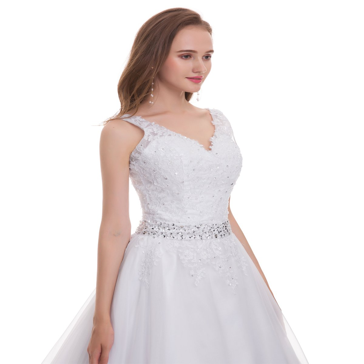 ed96b66c976b OWMAN Women's Double V-Neck Lace Applique Empire Chapel Train Wedding Dress  at Amazon Women's Clothing store: