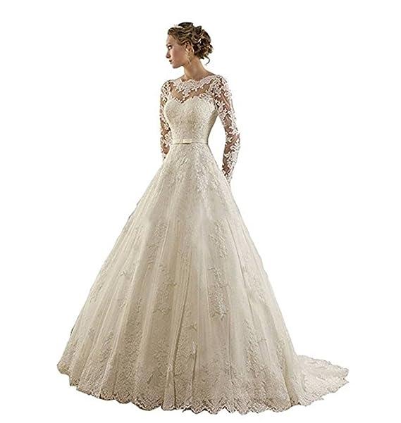ANJURUISI Joyas de encaje de encaje de la mujer de manga larga capilla vestidos de novia tren: Amazon.es: Ropa y accesorios