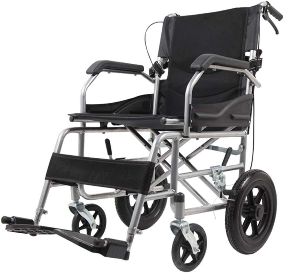 Sillas de ruedas asistidas y de transporte Silla de ruedas con ruedas de 12 pulgadas, carro plegable de malla celular transpirable, Ccooter de viaje para ancianos, neumáticos sólidos, con pedal y fr