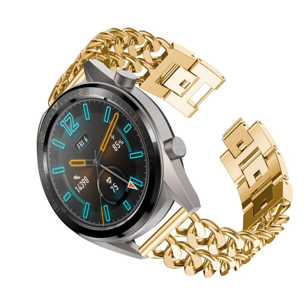 Heligen_Electrónica y dispositivos para Huawei Watch GT, Correa para la muñeca de la Banda del Reloj de la aleación del Reloj de la Cadena de la Doble Fila ...