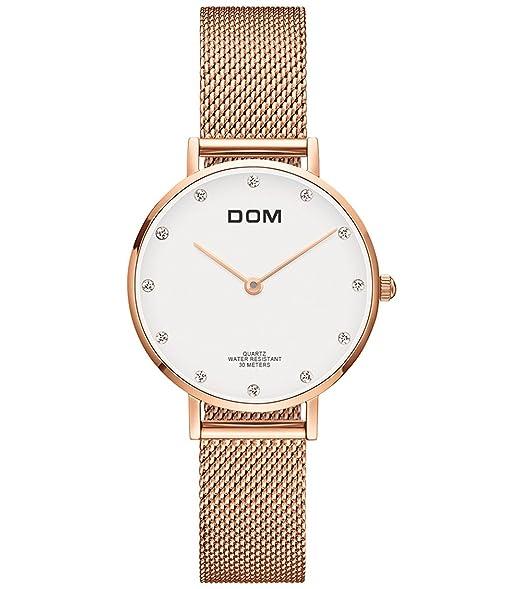 Reloj Pulsera Señora Impermeable Inoxidable Analógico Reloj el Movimiento  de Cuarzo Japonés Oro Rosa de Malla Delgado Relojes  Amazon.es  Relojes a0eb7ef8aed6