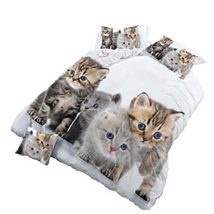 Lenzuola Matrimoniali Con Animali.Hohai 4piece Gatti Animali 3d Stampa In Bianco Set
