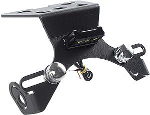 Motorcycle Aluminum License Plate Holder Support Kit Tail Bracket Mount Fender Eliminator with LED Light For 2013-2017 Kawasaki Ninja 250 300 Z250 Z300 EX300 2014 2015 2016