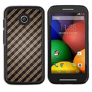 Caucho caso de Shell duro de la cubierta de accesorios de protección BY RAYDREAMMM - Motorola Moto E - Stripes Wallpaper Gris Marrón Rojo aleatoria
