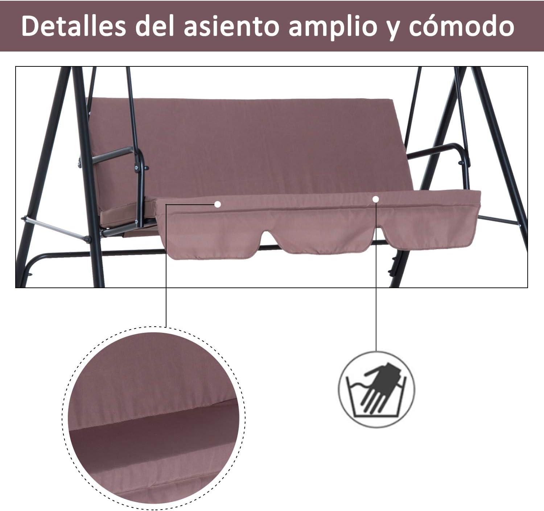 Outsunny Columpio de Jardín de Metal con Parasol Balancín de 3 ...