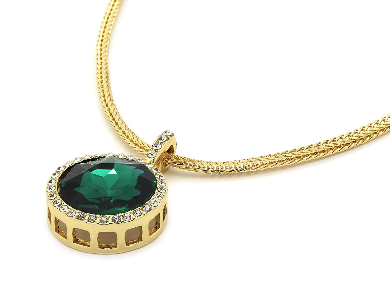 L /& L Nation Mens Gold Tone Green Round Ruby Pendant with 3mm 24 Franco Chain Necklace