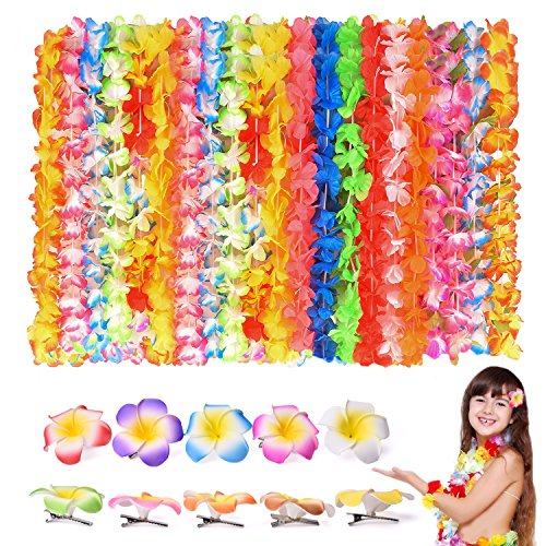 FUN LITTLE TOYS 40 PCs Tropical Hawaiian Leis Ruffled Flowers Necklaces and 10 Pieces Hawaiian Luau Flower Lei Hair Clip for Party Supplies, Beach Party Decorations, Birthday Party Favors -