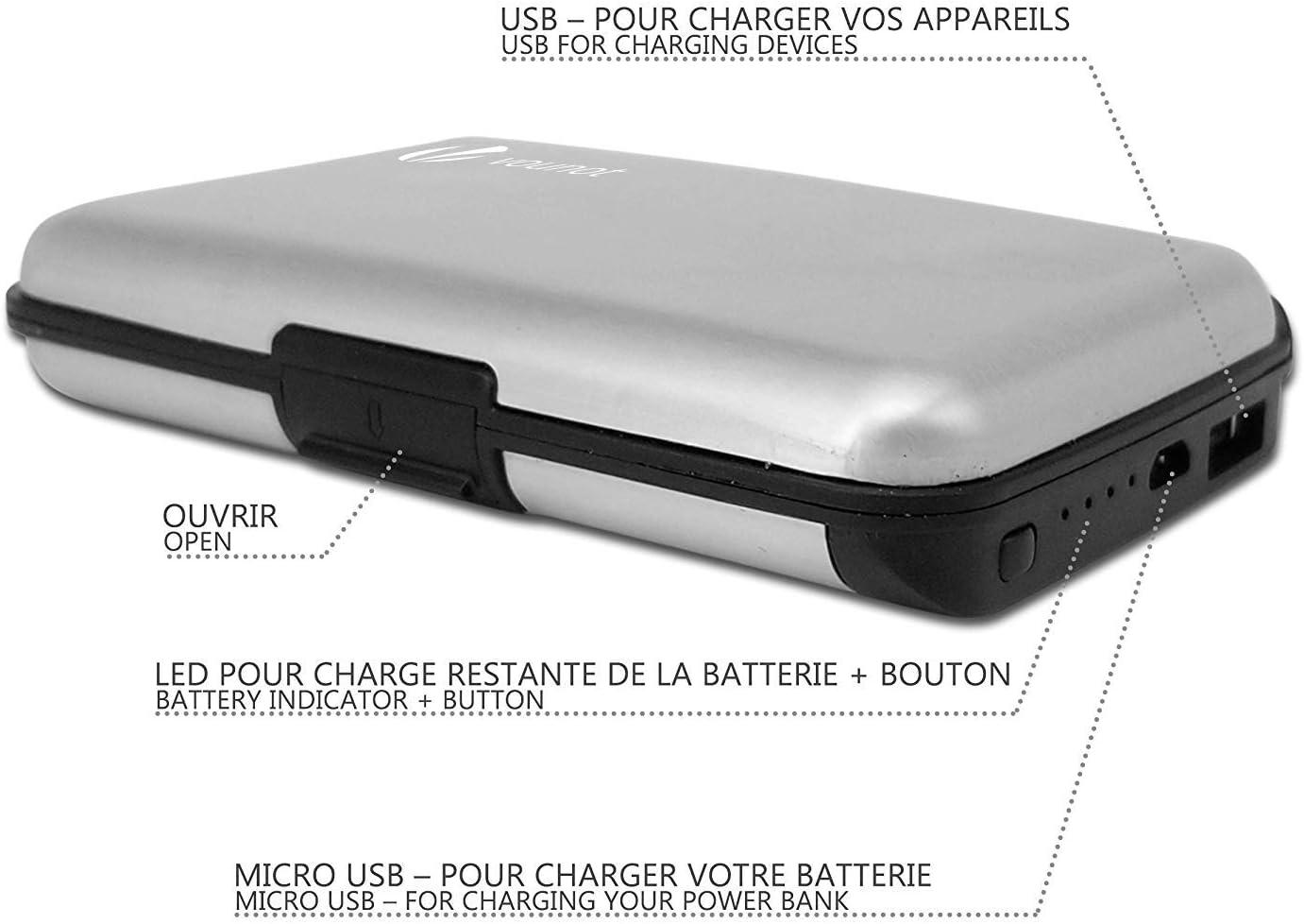 Noir Chargeur Power Bank 2000 mAh |2 en 1 Organisateur de Cartes et Chargeur t/él/éphone Porte Carte Aluminium avec Chargeur Blocage RFID Portefeuille Aluminium avec Chargeur