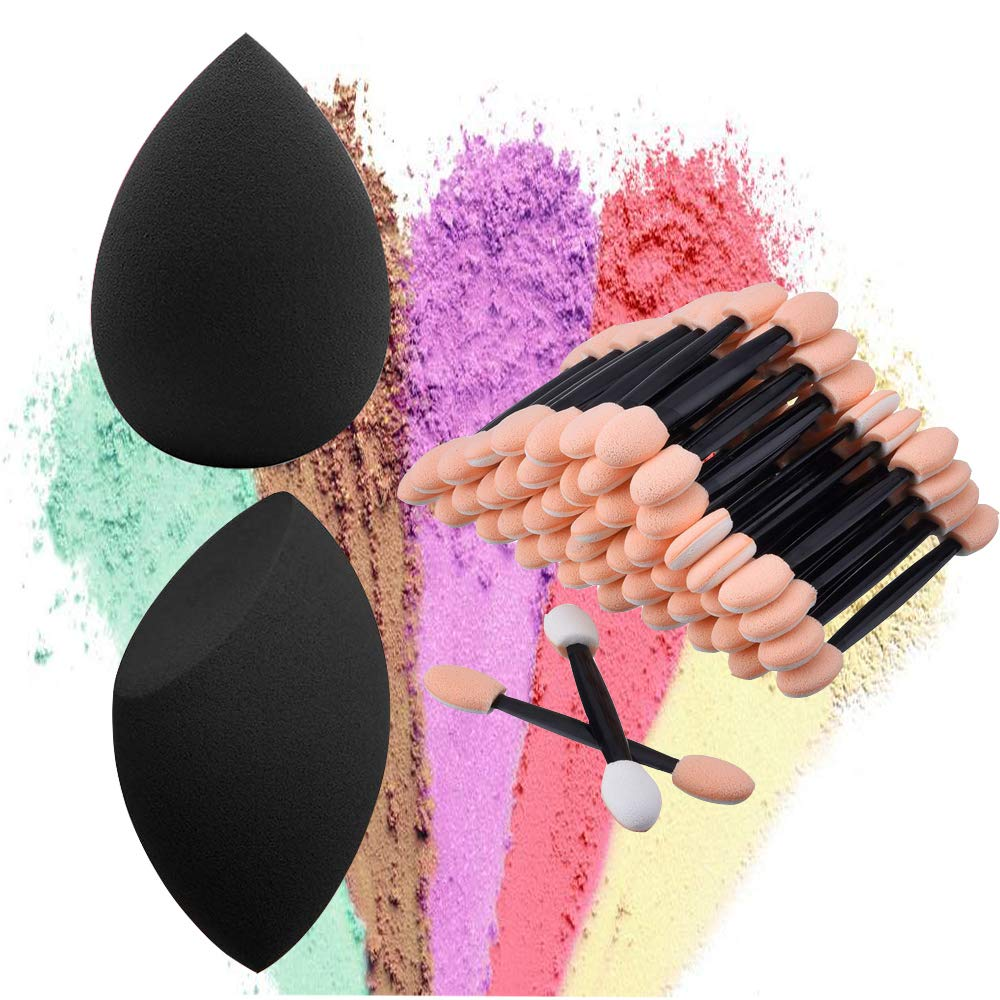 materasu 40+2Pcs latex free makeup face sponge puff BB cream eye makeup sponge tip Disposable Eyeshadow Brush Sponge Tipped Oval Makeup Tool Dual Sides Eyeshadow Brush(40sponge tip+2 non latex free)