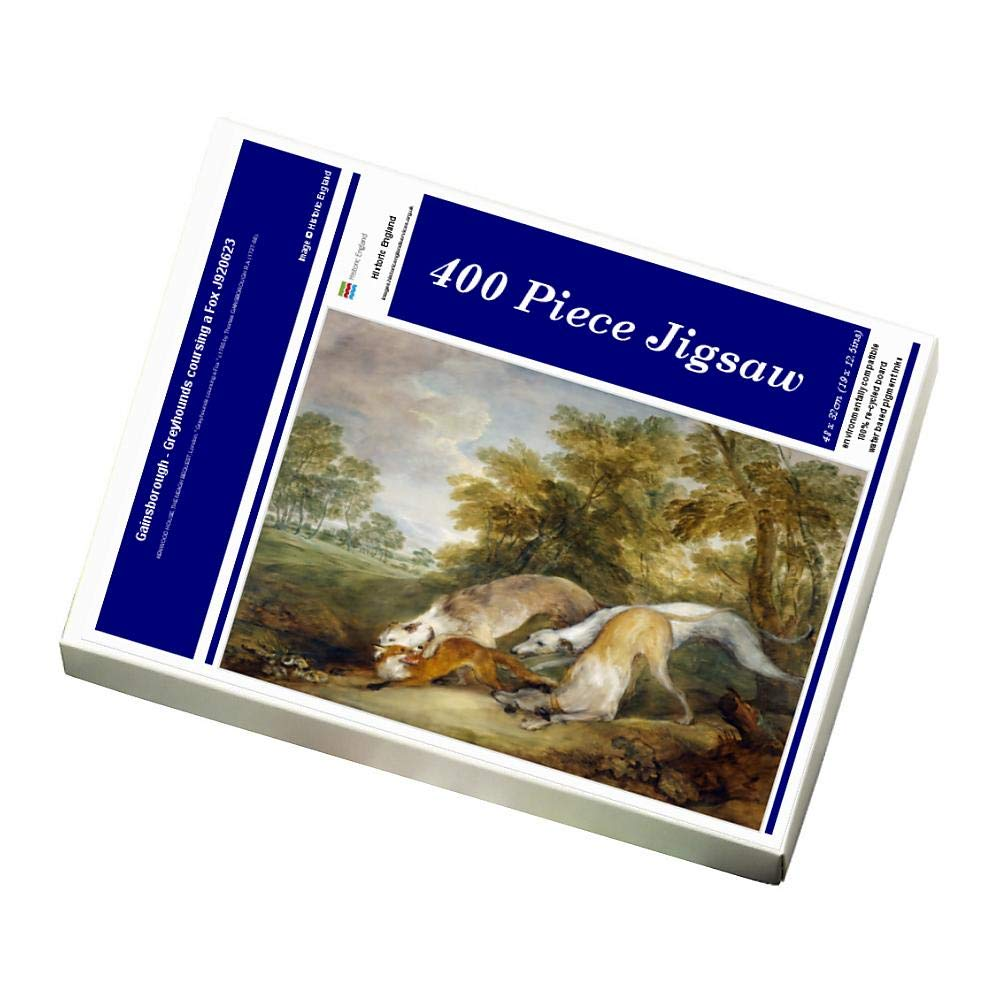 Media Storehouse 400 Piece Puzzle of Gainsborough - Grauhounds coursing a Fox J920623 (559010)
