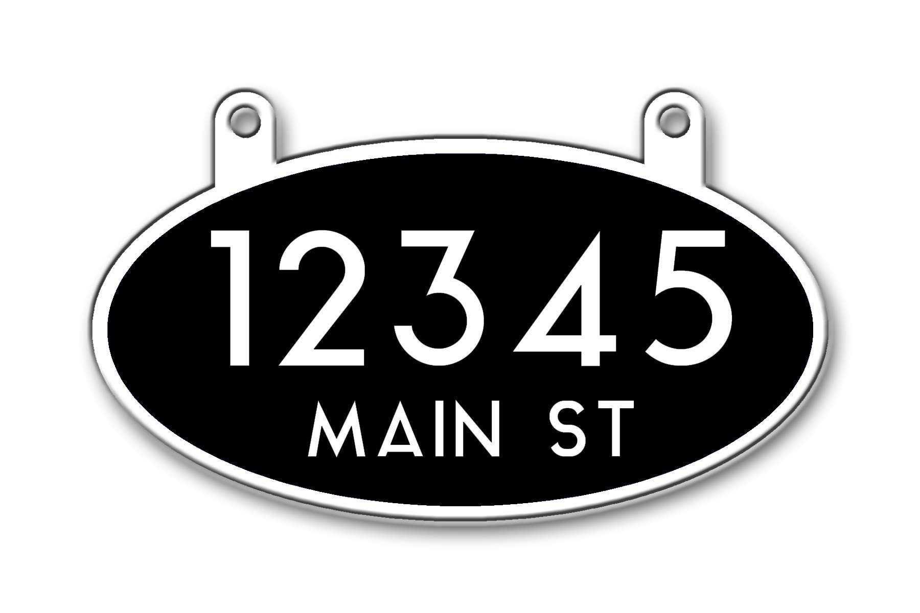 Reflective Hanging Mailbox Address Sign, Double Sided (Black) by Curb-N-Sign